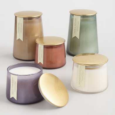 Gold Lid Glass Filled Jar Candle Collection