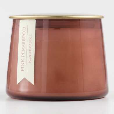 Small Pink Pepperpod Gold Lid Glass Filled Jar Candle