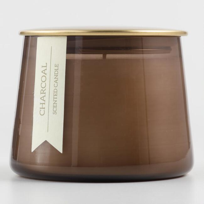Small Charcoal Gold Lid Glass Filled Jar Candle