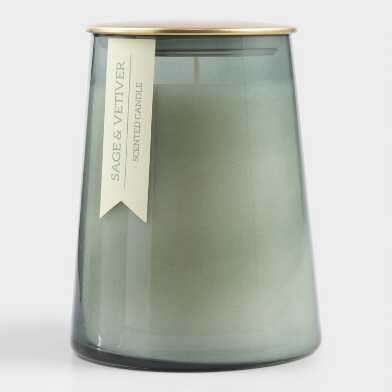 Large Sage and Vetiver Gold Lid Glass Filled Jar Candle