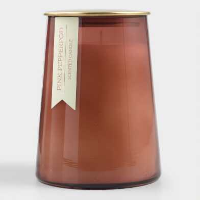 Large Pink Pepperpod Gold Lid Glass Filled Jar Candle