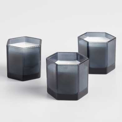 Hexagonal Smoky Gray Filled Jar Candle Collection