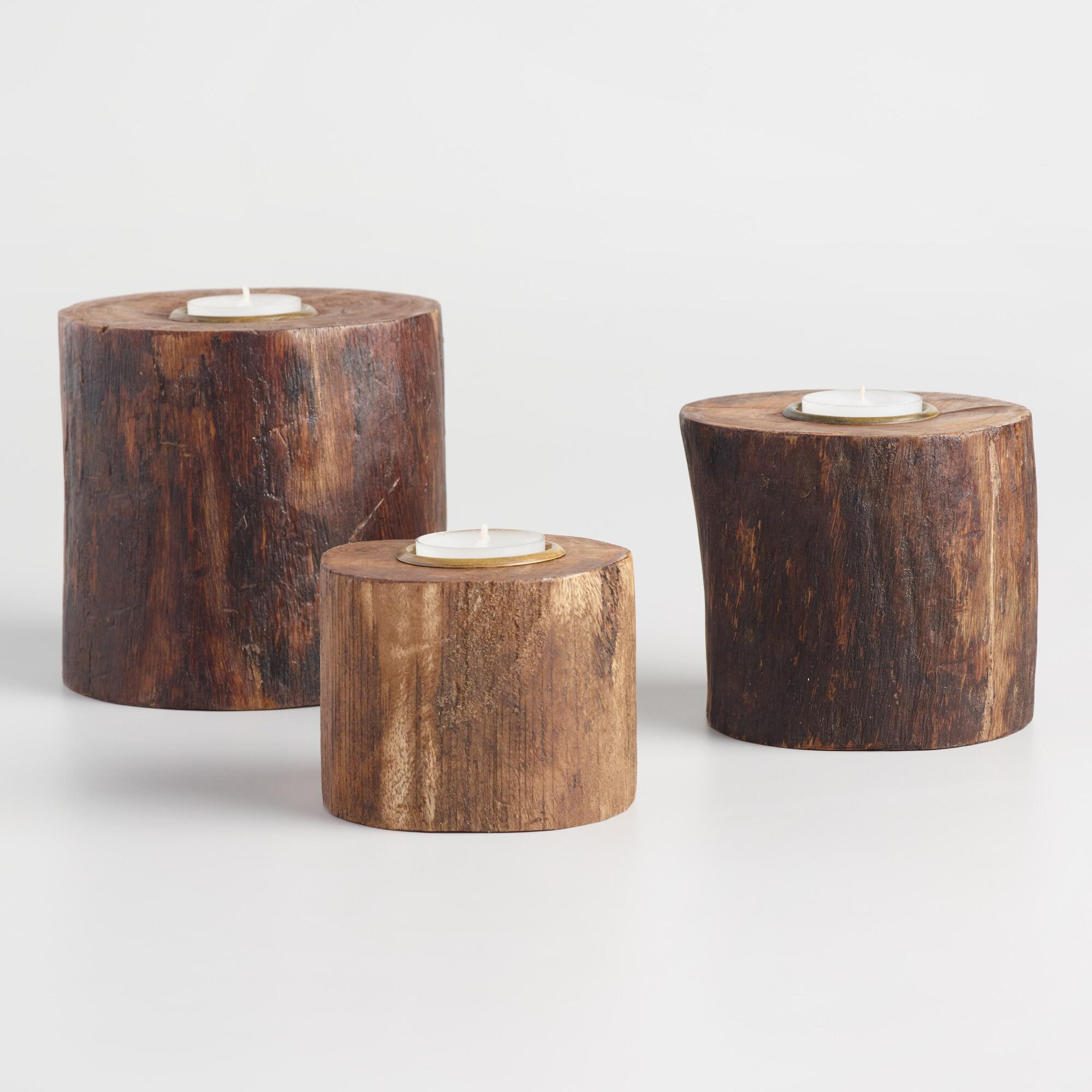 Wood Stump Tealight Candleholder - Small by World Market Small