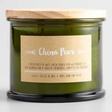 China Pear Medallion Stamped Lid Filled Jar Candle