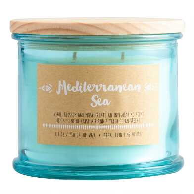 Mediterranean Sea Medallion Stamped Lid Filled Jar Candle