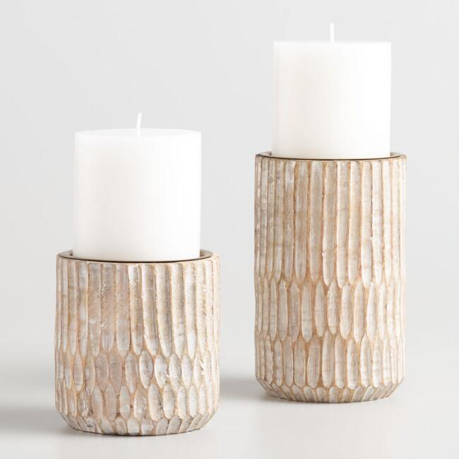 Whitewash Carved Pillar Candleholder
