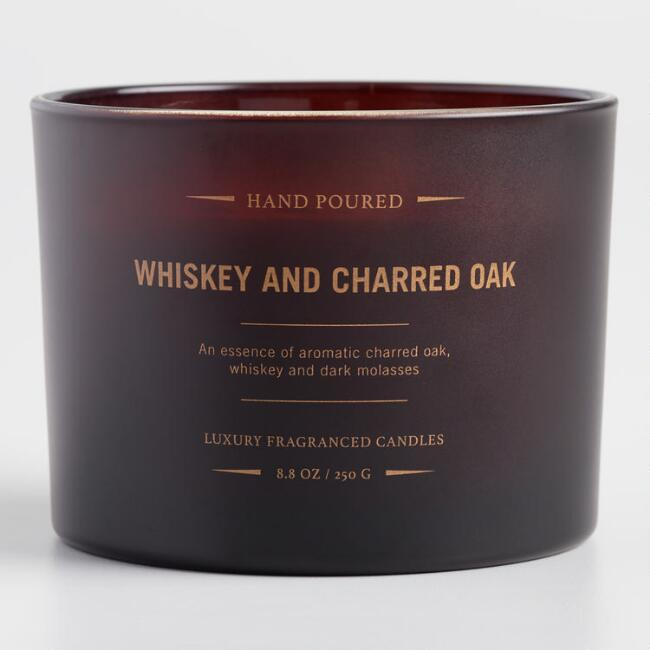 Whiskey and Charred Oak Dark Amber Filled Jar Candle