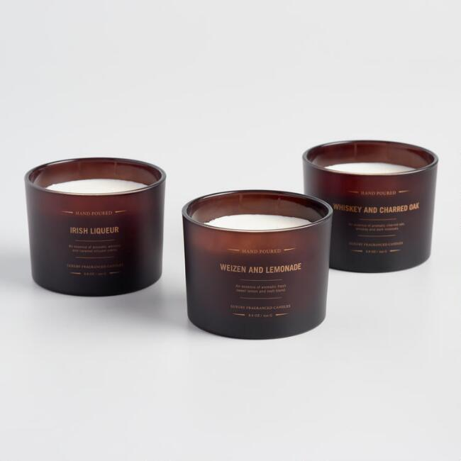 Dark Amber Filled Jar Candle Collection