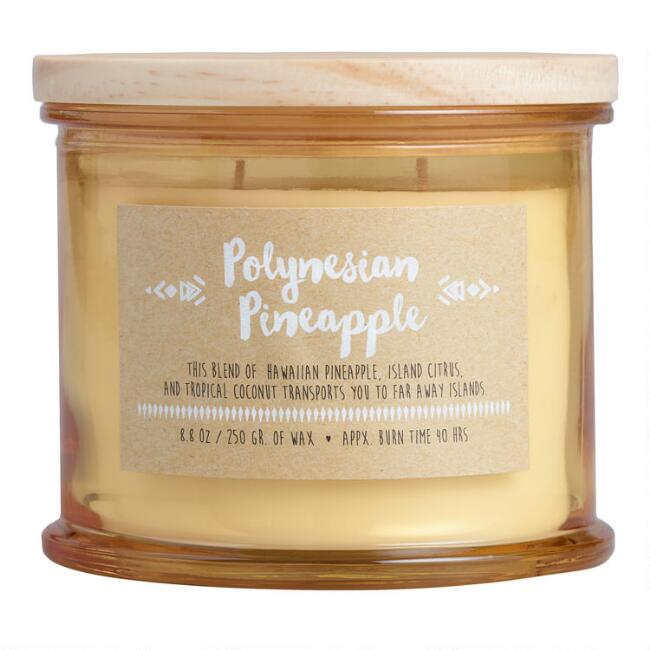 Polynesian Pineapple Medallion Stamped Lid Filled Jar Candle