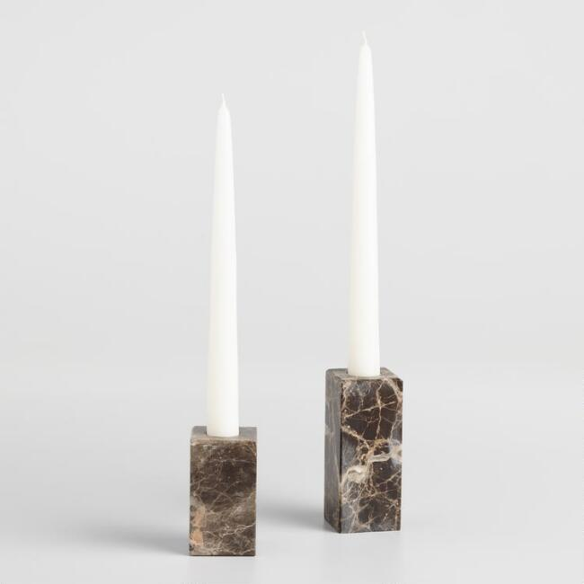 Brown Marble Taper Candleholder
