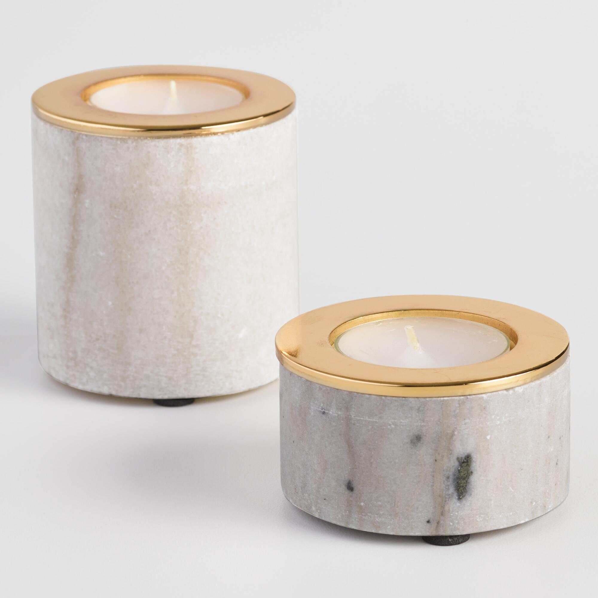 White Marble Tealight Candleholder - Small by World Market Small