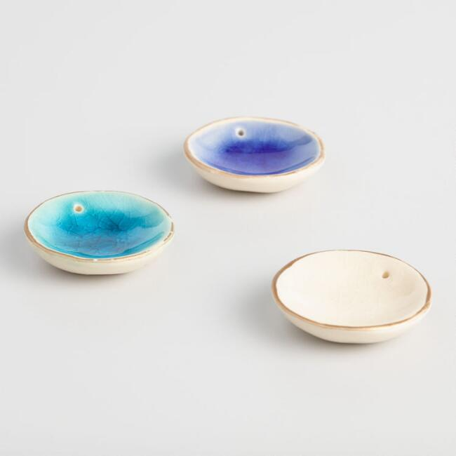 Reactive Glaze Ceramic Incense Holders Set of 3