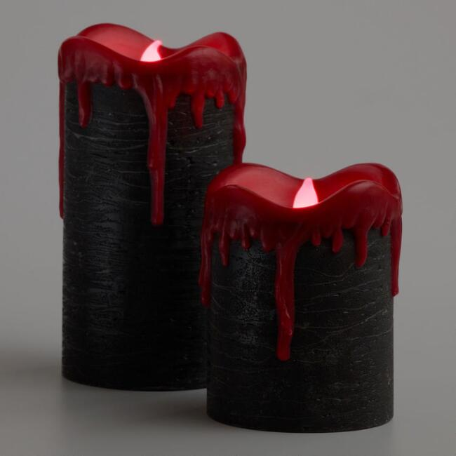 Black and Red Bleeding Drip Flameless LED Pillar Candle