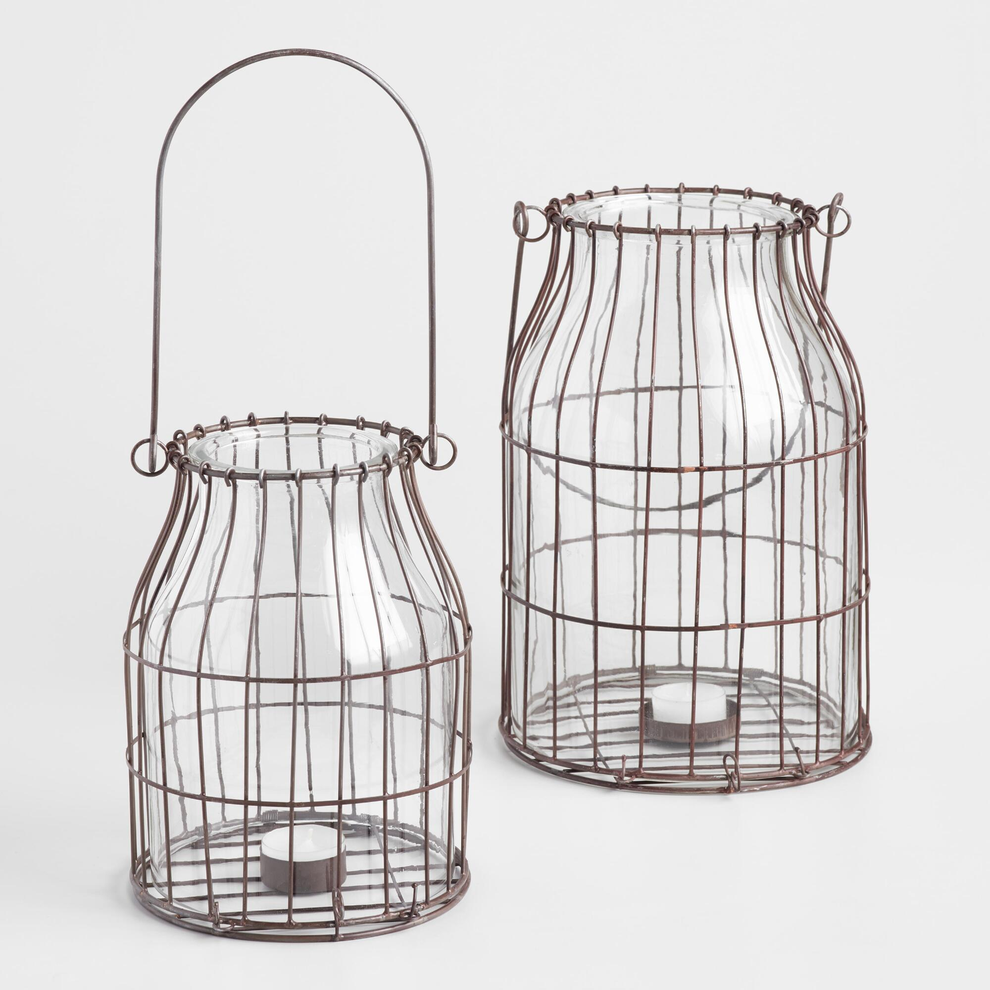 Rustic Caged Wire and Glass Lantern - Small by World Market Small