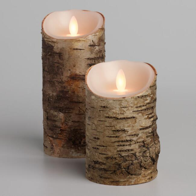 Birch Bark iFlicker Flameless LED Pillar Candle