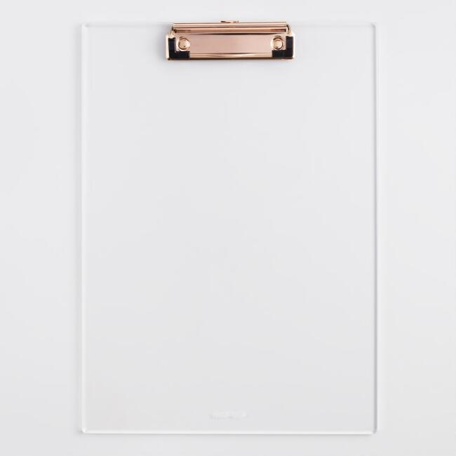 Clear Acrylic and Gold Clipboard