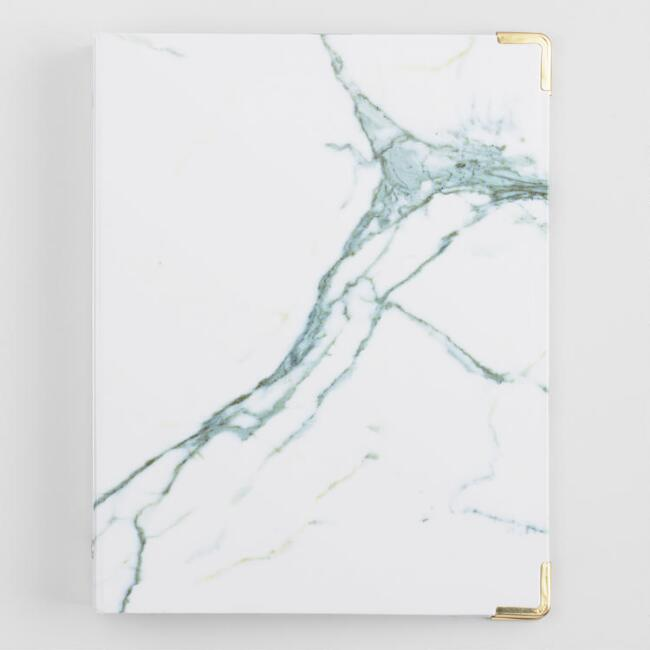 Mini White and Gray Marble Binder
