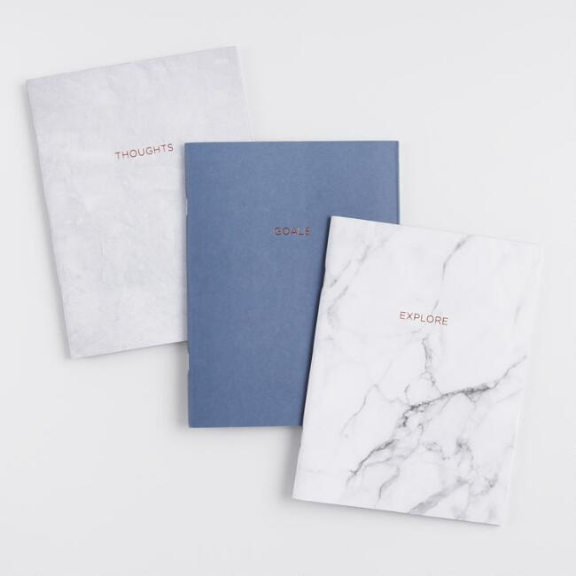 White and Gray Marble Journals Set of 3