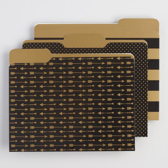 Gold and Black File Folders Set of 6