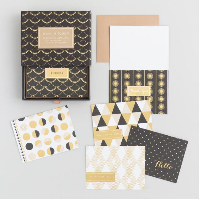 Gold and Black Stay in Touch Boxed Notecards Set of 16