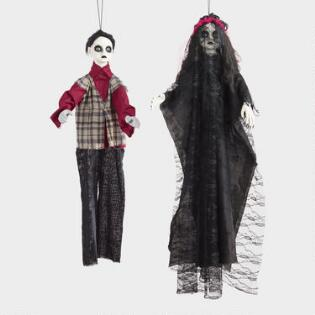 boy and girl halloween hanging figures set of