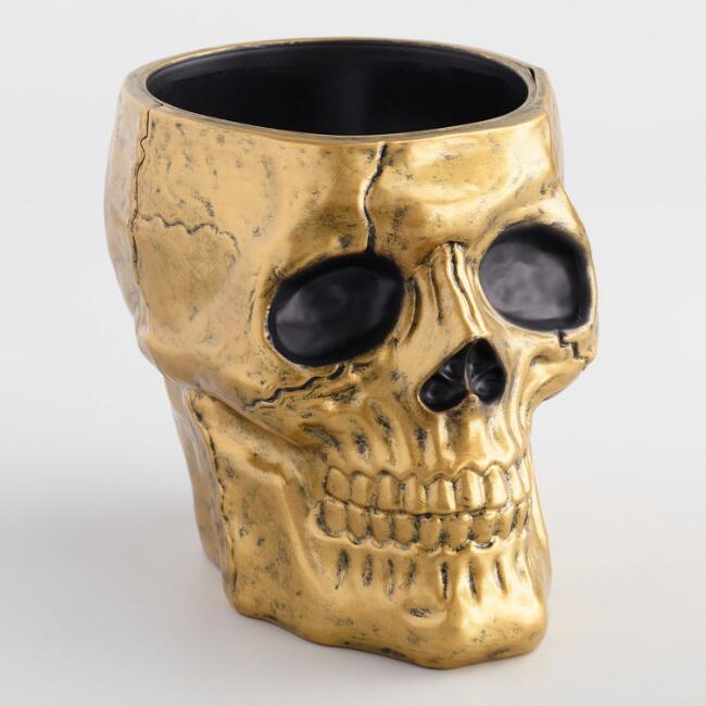 Gold Skull Container