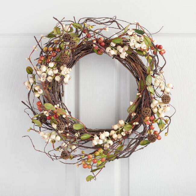 outdoor fall decor, fall decorations, outdoor fall decorations, Twig and Faux Berry Wreath