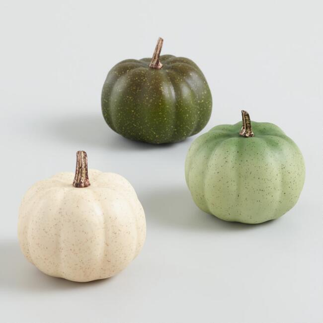 Mini Ivory and Green Faux Heirloom Pumpkins Set of 3