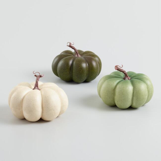 Medium Ivory and Green Faux Heirloom Pumpkins Set of 3