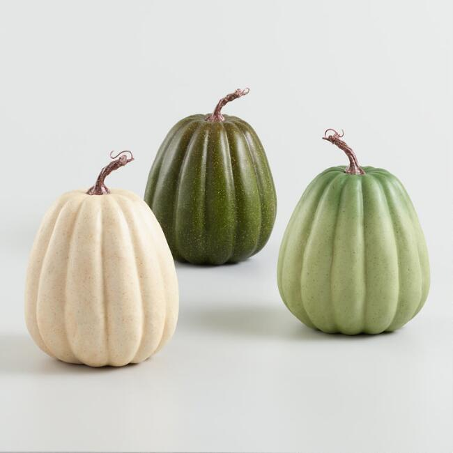 Tall Ivory and Green Faux Heirloom Pumpkins Set of 3