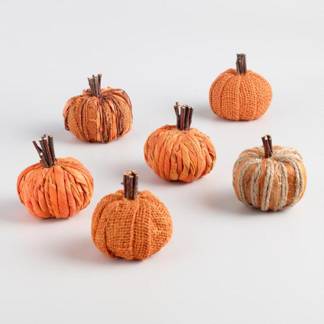 Mini Natural Fiber Pumpkin Set of 6