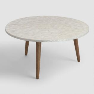 Round White Capiz Coffee Table