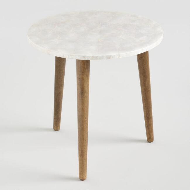 Round White Marble Milan Accent Table By World Market: Round White Capiz Accent Table