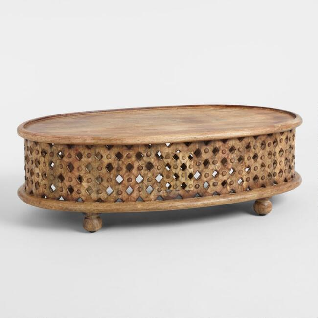 oval tribal carved wood coffee table - Carved Wooden Coffee Tables