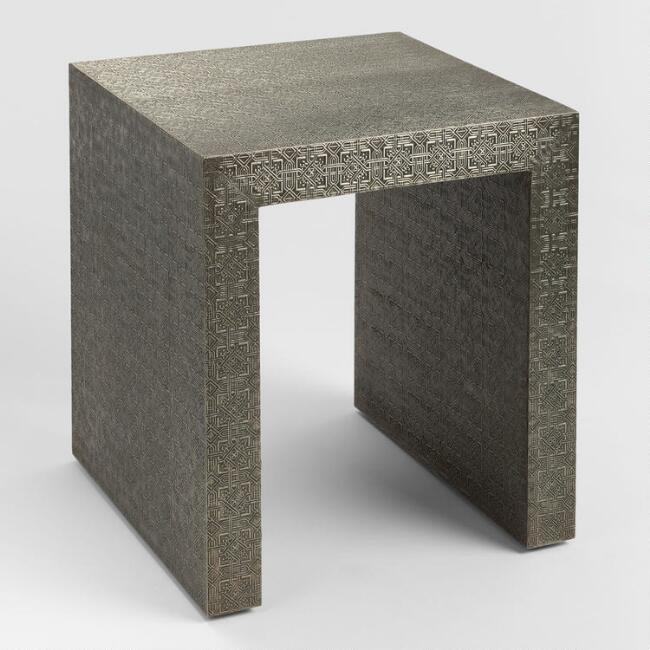 Embossed Metal Sheena Accent Table