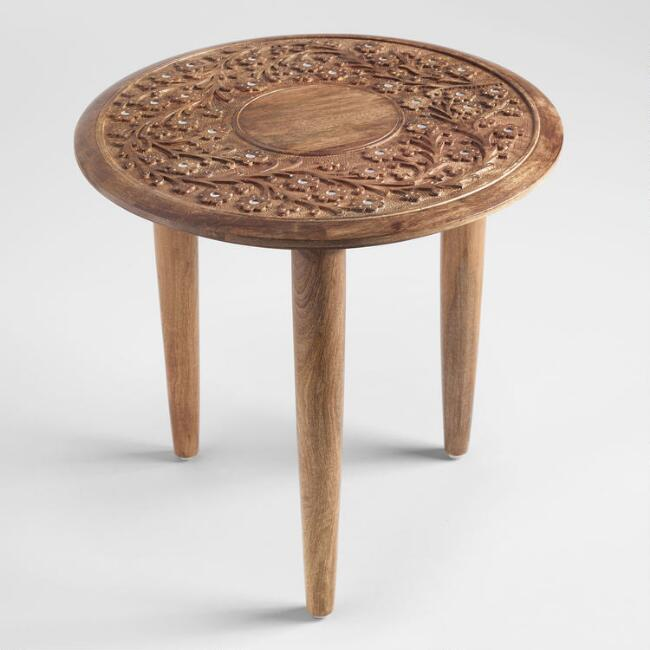 Round Wood Carved Floral Esmee Accent Table