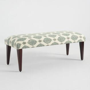Teal Green Printed Celia Bench