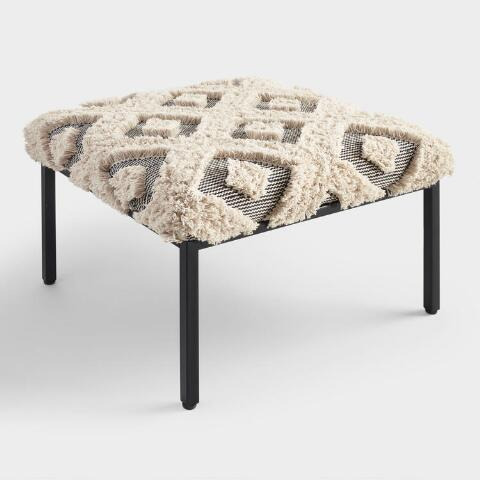 Superb Ivory Shag Diamond Mabel Ottoman Caraccident5 Cool Chair Designs And Ideas Caraccident5Info