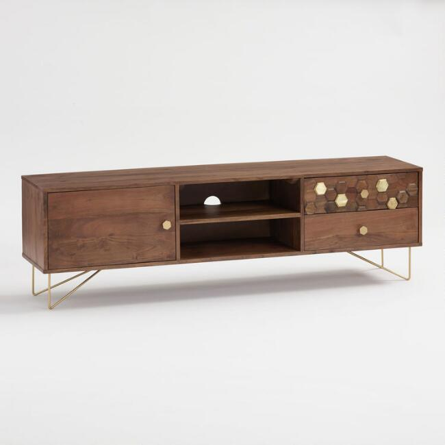 Wood Hexagon and Gold Inlay Hairpin Natasha Cabinet