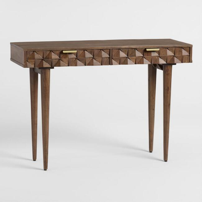 Geometric Carved Wood Ashford Console Table World Market