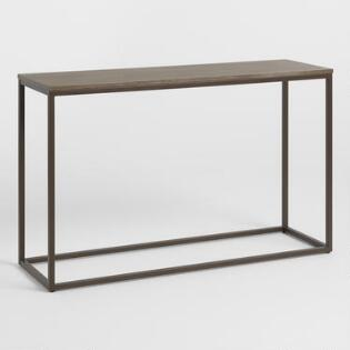 91c6a83ef8c Graywash Wood and Metal Keenan Console Table