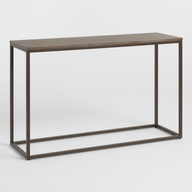 Graywash Wood and Metal Keenan Console Table