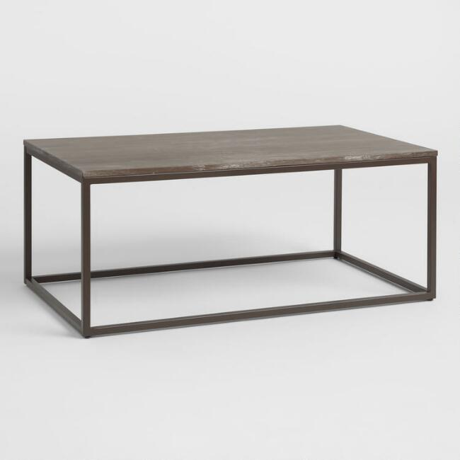 Graywash Wood and Metal Keenan Coffee Table