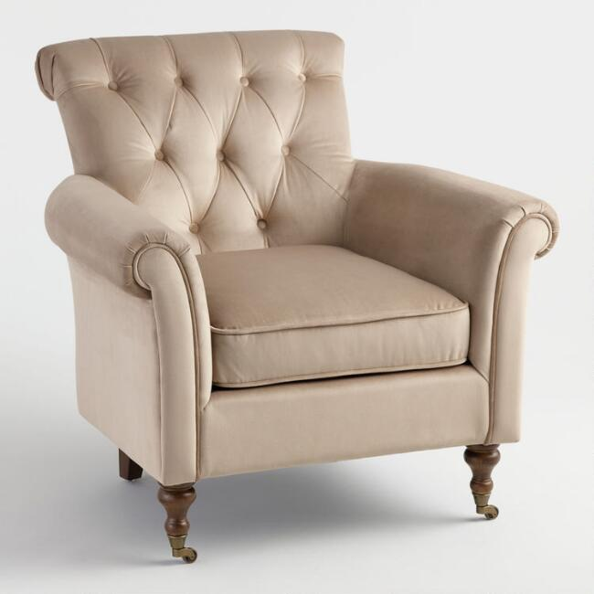 Warm Taupe Dimitra Roll Arm Chair