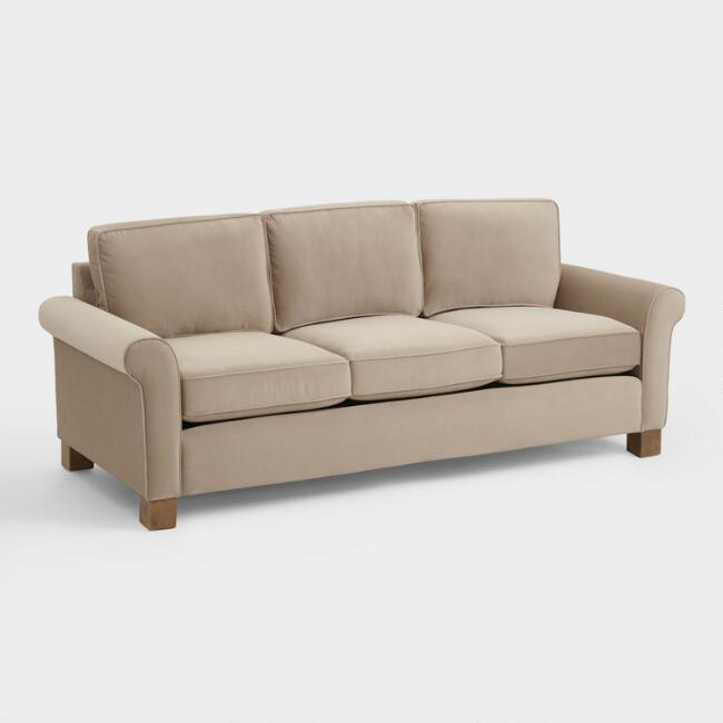 Taupe Gillian Roll Arm Sofa