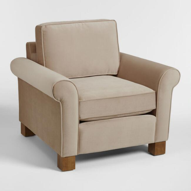 Taupe Gillian Roll Arm Chair