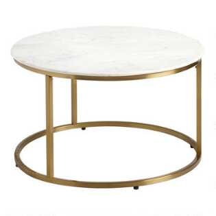 Coffee Table.White Marble Milan Table Collection