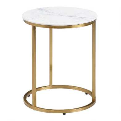 Round White Marble Milan Accent Table