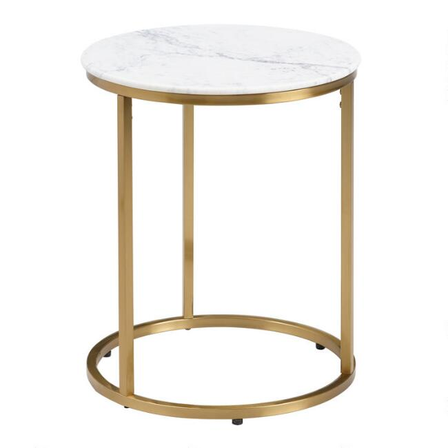 Round White Marble Milan Accent Table World Market