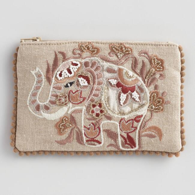Small Tan Elephant Beaded Pouch